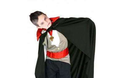 Peleryna wampira czarna z czerwonym kołnierzem metalicznym 90cm (dla dzieci)
