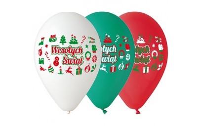 Balon 12 Wesołych Świąt 5 szt.