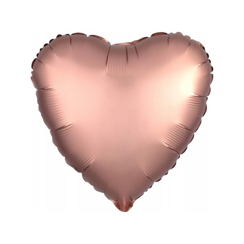 Balon foliowy 17 satynowy serce różowe złoto