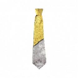 Krawat cekinowy zmieniający kolor złoty -srebrny