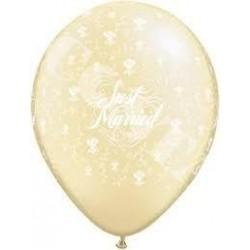 Balon 11 Just Married w róże ekri metalik 20 szt.
