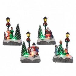 Figura bożonarodzeniowa led z latarnią i choinką 8,5x5,5x12cm (multikolor)