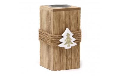 Świecznik drewniany 12cm