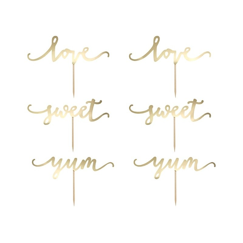 Napis na piku Love, Sweet, Yum złoty 13cm 6 szt.