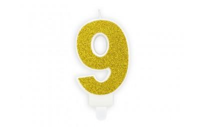 Świeczka cyferka 9 złota