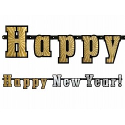 Baner holograficzny Happy New Year 15x142cm