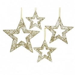 Gwiazda metalowa z koralikami złota 40cm