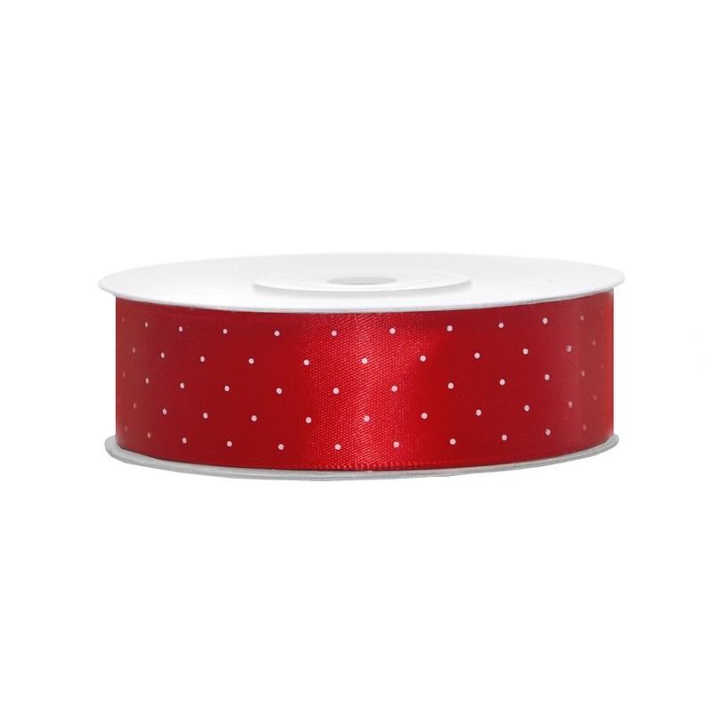 Taśma satynowa czerwona w kropki 25mm x 25m