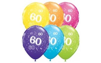 Balon 11 60 urodziny 6 szt.
