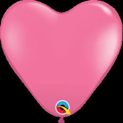 Balon 15 serce ciemny róż...