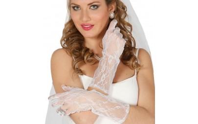 Rękawiczki koronkowe białe...