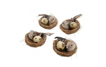 Ptaszek w gnieździe z jajkiem