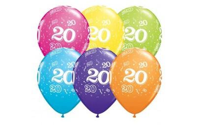 Balon 11 20 urodziny 6 szt.