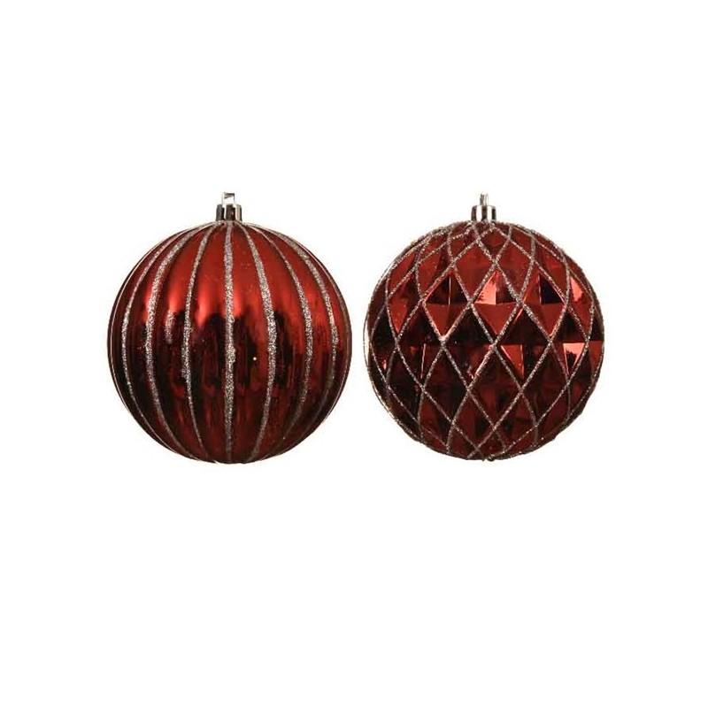 Bombka dekorowana czerwona 10 cm