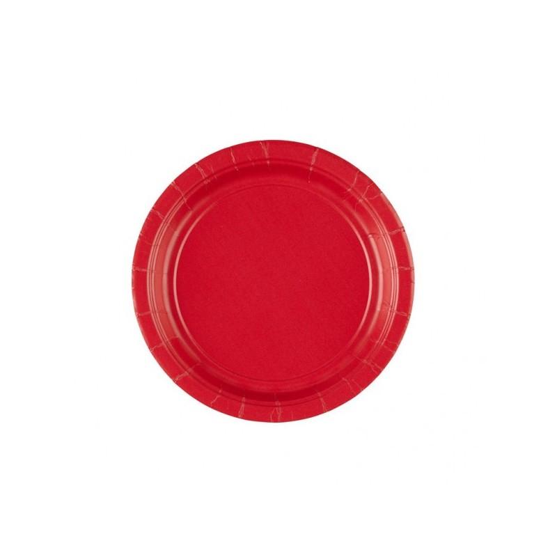 Talerz papierowy czerwony 17,8cm 8 szt.