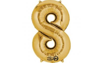 Balon foliowy 16 cyfra 8 złota