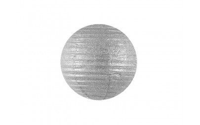 Lampion brokatowy srebrny 20cm