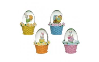Jajko szklane w koszyczku mix 4x7,5cm