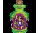 Zielony balon foliowy 40 butelka z trucizną czaszka