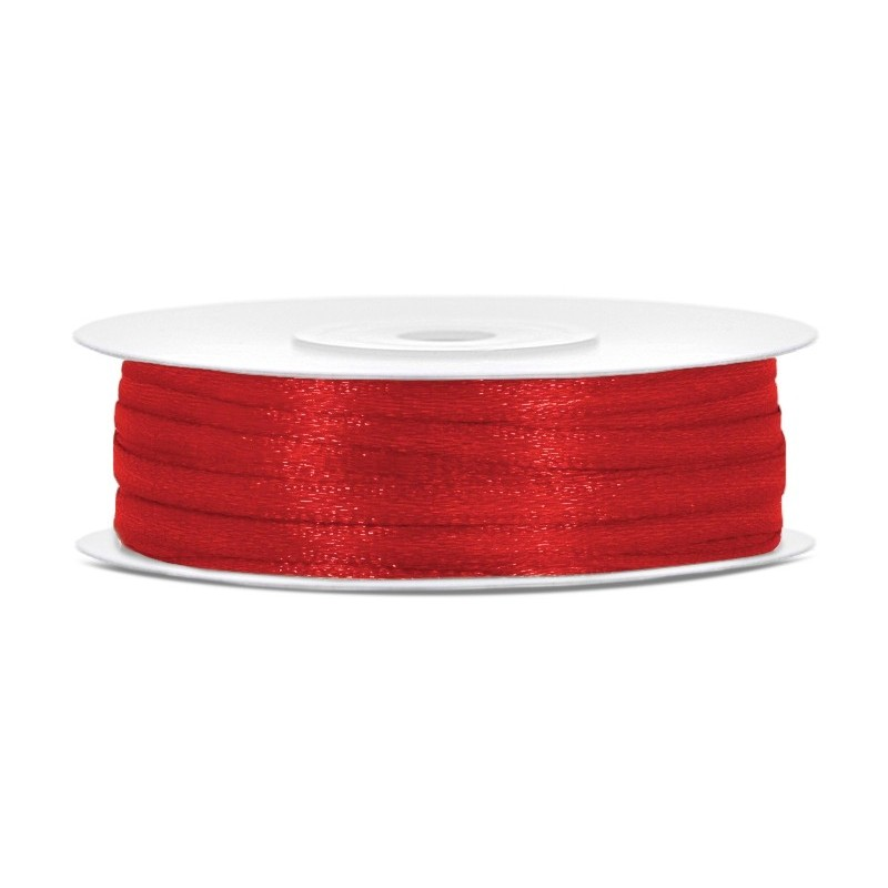Taśma satynowa czerwona 3mm x 50m