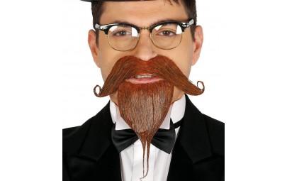 Kozia bródka z wąsami brązowa