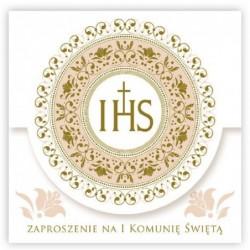 Zaproszenie komunijne z ornamentem złotym/srebrnym 12x12cm 10 szt.