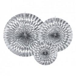 Rozety dekoracyjne srebrne 3 szt. (23cm, 32cm, 40cm)