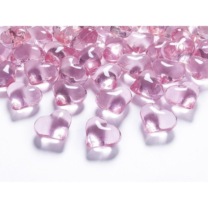 Serca kryształowe jasny róż 2,1cm