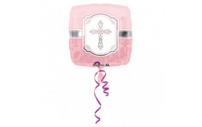Balon foliowy 17 Krzyż komunijny różowy