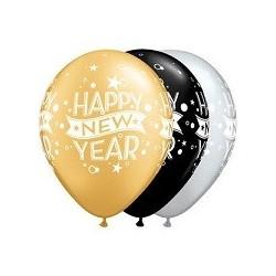 Balon 11 New Year kropki i konfetti 25 szt.
