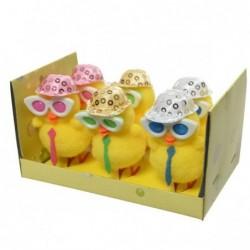 Kurczak żółty w czapce i okularach 3,5x3,5x6cm 6szt
