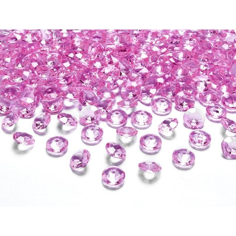 Konfetti diamentowe różowe 12mm 100 szt.