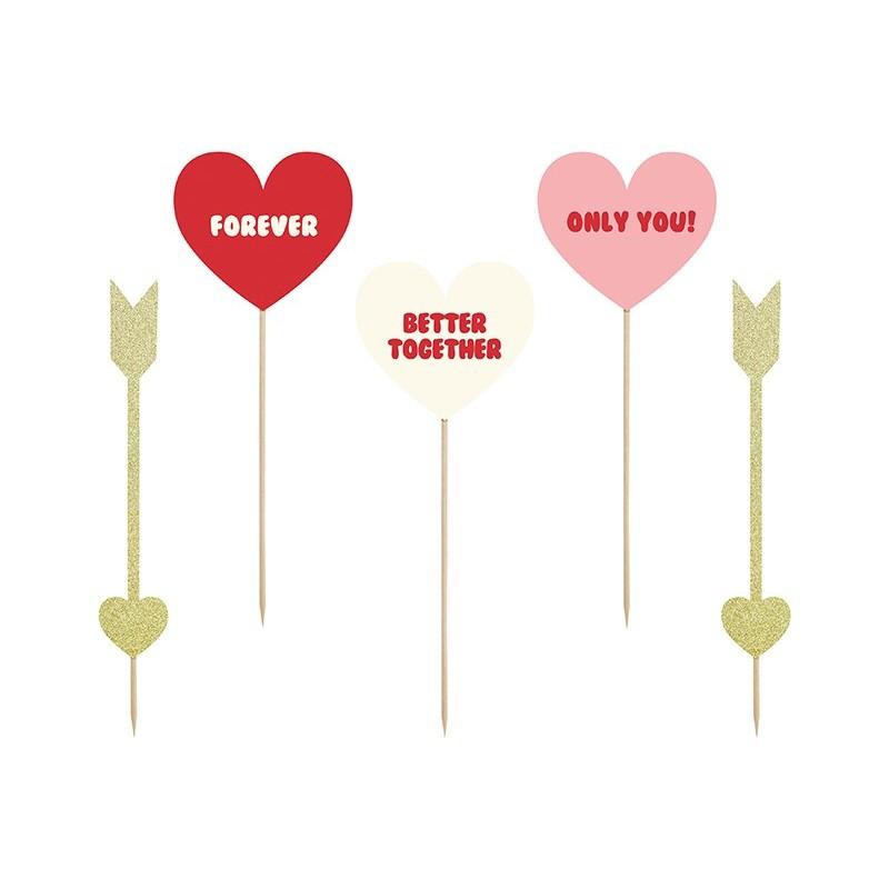 Toppery Sweet Love-Serca i strzałki 5szt