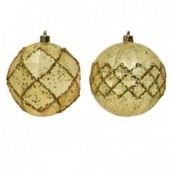 Bombka dekorowana złota 8cm
