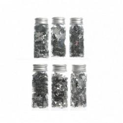 Konfetti metaliczne srebrne w butelce 3,7x9cm