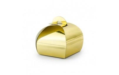 Pudełeczko dla gości złote 6x6x5,5cm 10 szt.