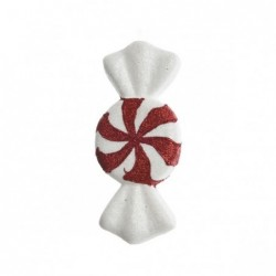 Cukierek czerwono biały z brokatem 3x14,5x6cm