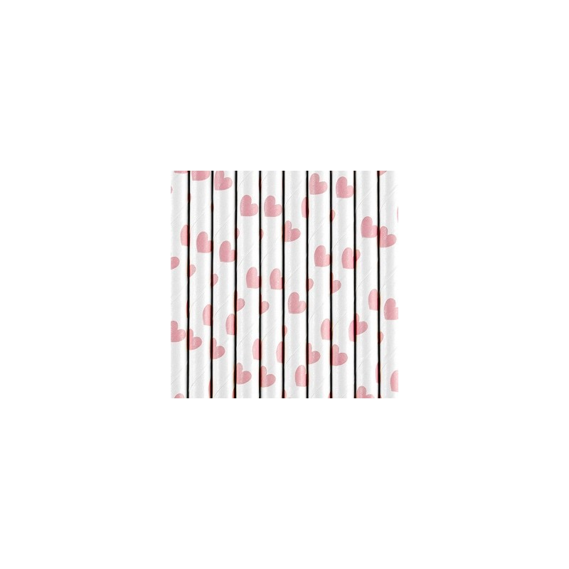 Rurki papierowe w serduszka jasne różowe 19,5cm 10 szt.