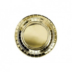 Talerz papierowy złoty metaliczny 18cm 6szt/op