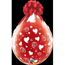 Balon 18 diamond clear Swirling Hearts 6 szt.