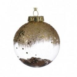 Bombka dekoracyjna przezroczysta z brokatem złotym 8cm