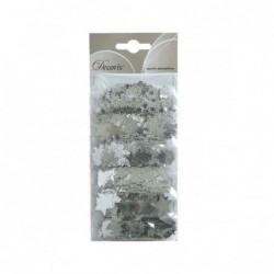 Konfetti świąteczne metaliczne srebrne 6 kształtów