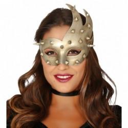Maska z ćwiekami srebrna