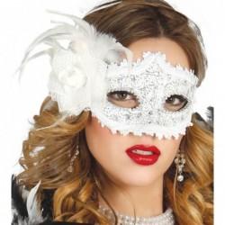 Maska z różą biała