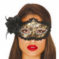 Maska z różą czarno-złota