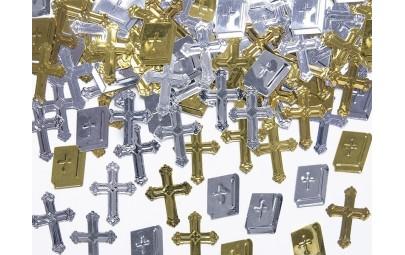Konfetti metaliczne krzyże