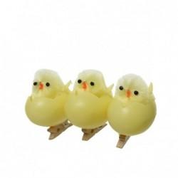 Kurczak w skorupce żółty na klamerce 2,8x4x5cm 3szt