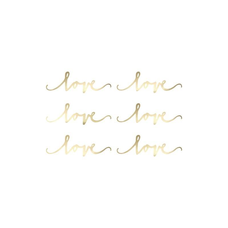 Dekoracja papierowa Love złota 6 szt.